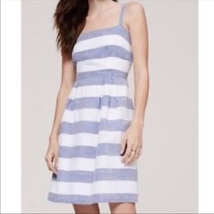 LOFT blue & white striped linen dress